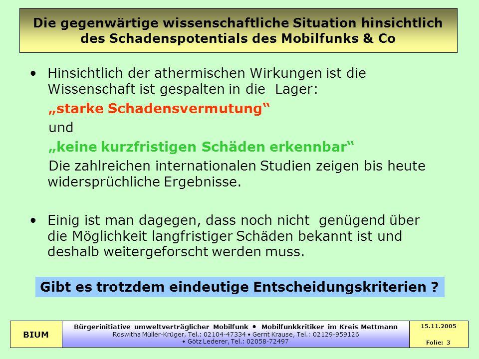 BIUM 15.11.2005 Folie: 3 Bürgerinitiative umweltverträglicher Mobilfunk Mobilfunkkritiker im Kreis Mettmann Roswitha Müller-Krüger, Tel.: 02104-47334