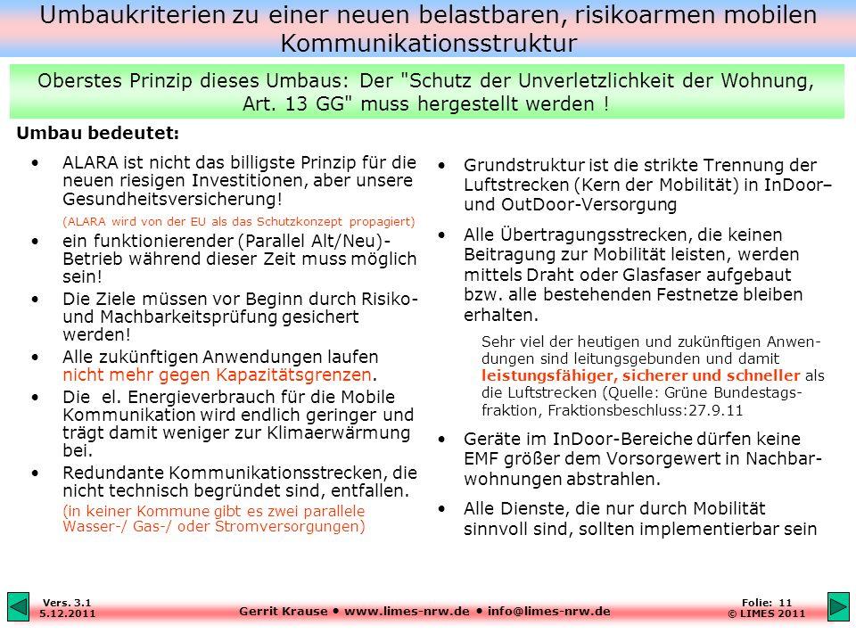 Gerrit Krause www.limes-nrw.de info@limes-nrw.de Vers. 3.1 5.12.2011 Folie: 11 © LIMES 2011 ALARA ist nicht das billigste Prinzip für die neuen riesig