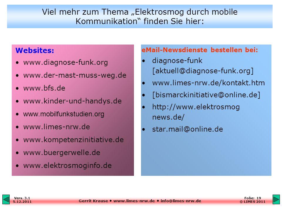 Gerrit Krause www.limes-nrw.de info@limes-nrw.de Vers. 3.1 5.12.2011 Folie: 19 © LIMES 2011 Websites: www.diagnose-funk.org www.der-mast-muss-weg.de w