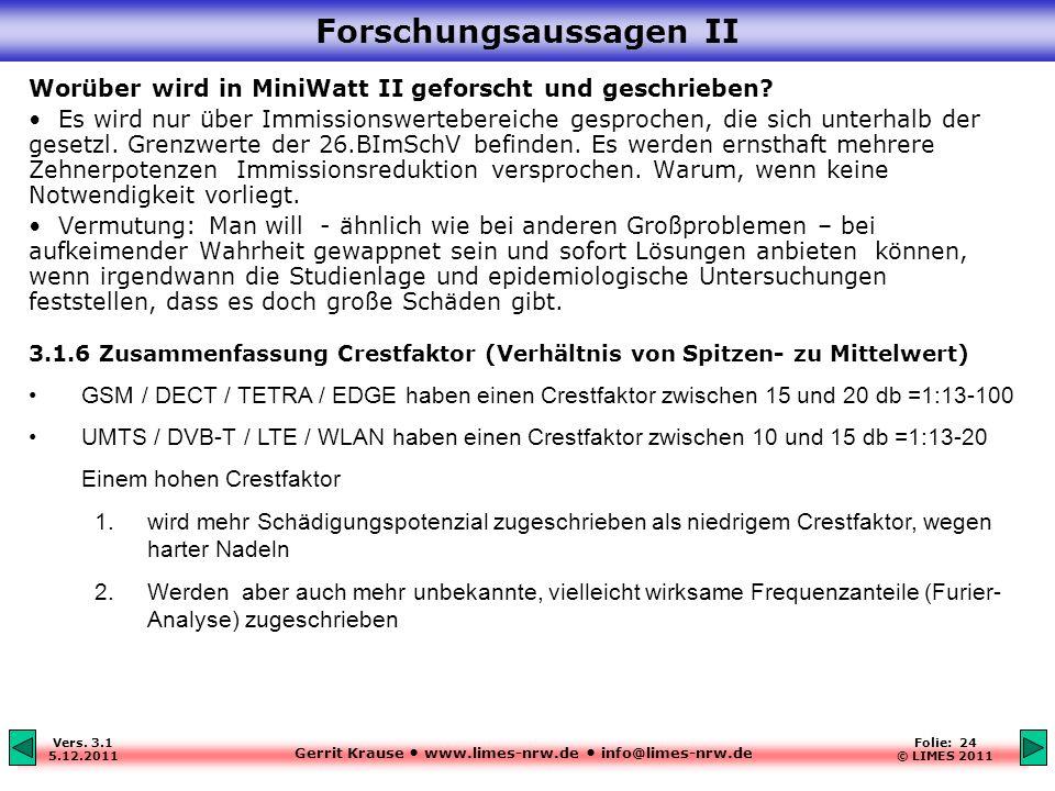 Gerrit Krause www.limes-nrw.de info@limes-nrw.de Vers. 3.1 5.12.2011 Folie: 24 © LIMES 2011 Forschungsaussagen II Worüber wird in MiniWatt II geforsch