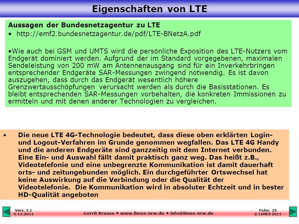 Gerrit Krause www.limes-nrw.de info@limes-nrw.de Vers. 3.1 5.12.2011 Folie: 25 © LIMES 2011 Eigenschaften von LTE Aussagen der Bundesnetzagentur zu LT