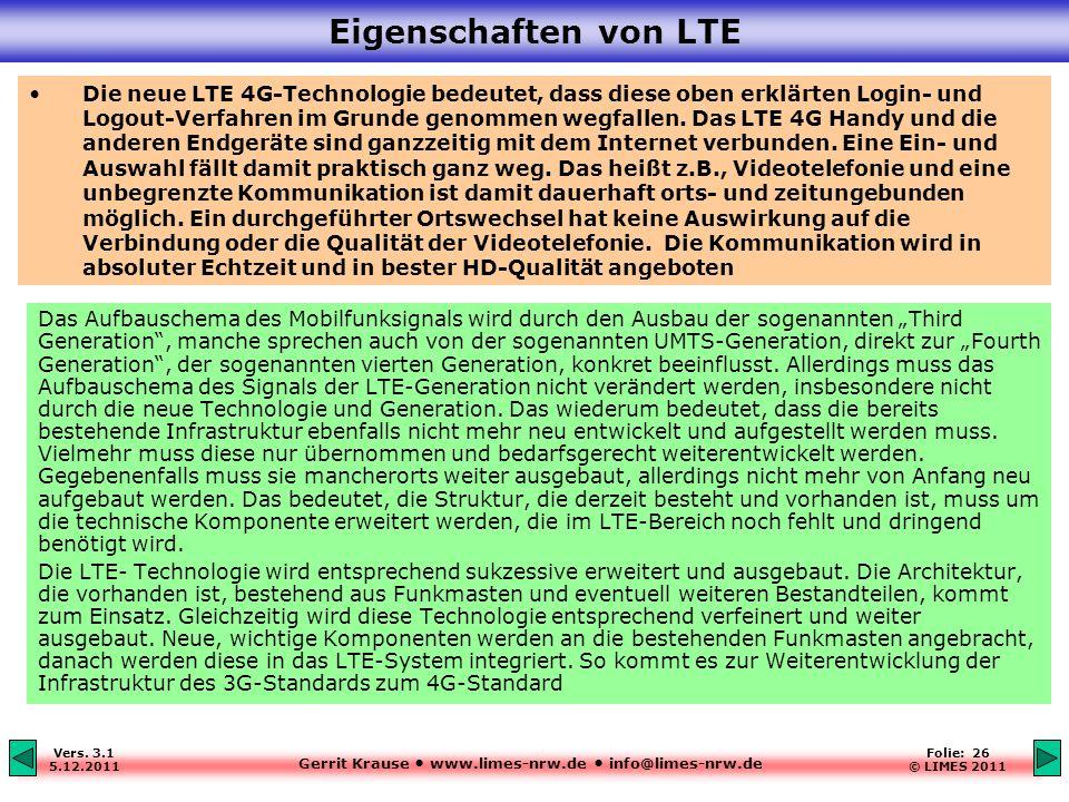 Gerrit Krause www.limes-nrw.de info@limes-nrw.de Vers. 3.1 5.12.2011 Folie: 26 © LIMES 2011 Eigenschaften von LTE Das Aufbauschema des Mobilfunksignal