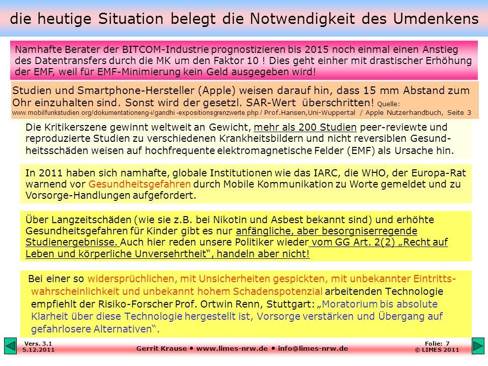Gerrit Krause www.limes-nrw.de info@limes-nrw.de Vers. 3.1 5.12.2011 Folie: 7 © LIMES 2011 die heutige Situation belegt die Notwendigkeit des Umdenken