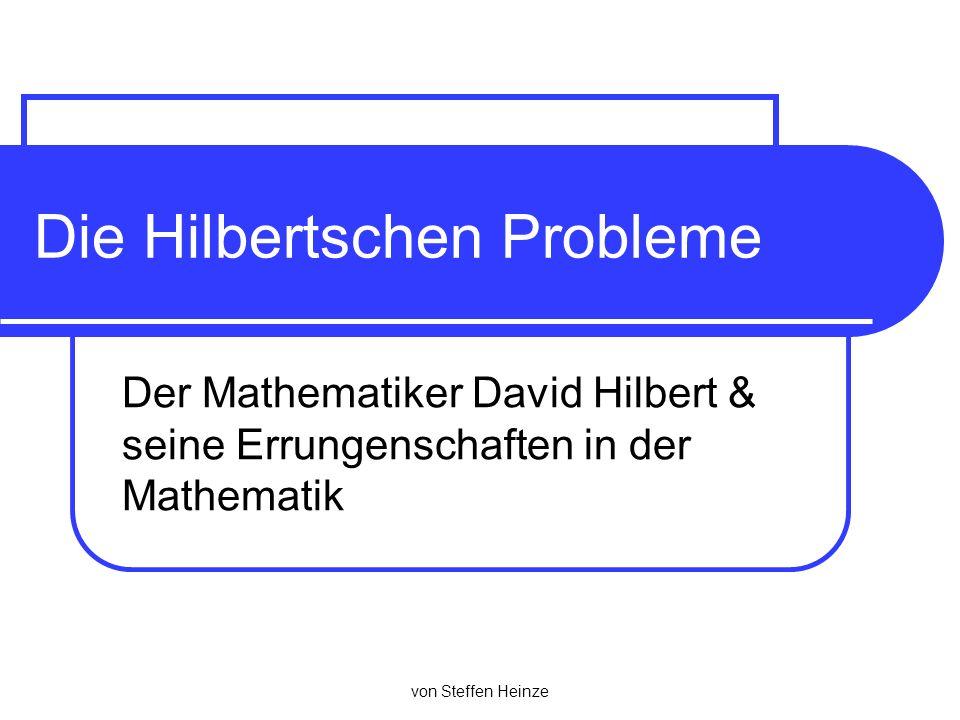 Bibliographie Algebraische Geometrie Beiträge zur Invariantentheorie Verband Geometrie und Algebra (Hilbertscher Basissatz) Zahlentheorie Strukturaussage für Körpererweiterungen (Hilberts Satz 90) Geometrie Vollständiges Axiomensystem der euklidischen Geometrie (Hilberts fünf Gruppen von Axiomen) Logik und Grundlagen der Mathematik Mathematik soll auf einem widerspruchfreien und vollständigen Axiomensystem aufgebaut werden (Hilberts Programm)