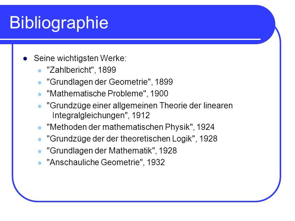 Bibliographie Seine wichtigsten Werke: