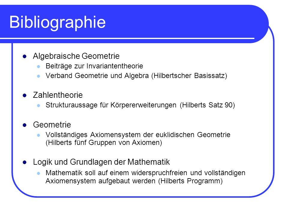 Bibliographie Algebraische Geometrie Beiträge zur Invariantentheorie Verband Geometrie und Algebra (Hilbertscher Basissatz) Zahlentheorie Strukturauss