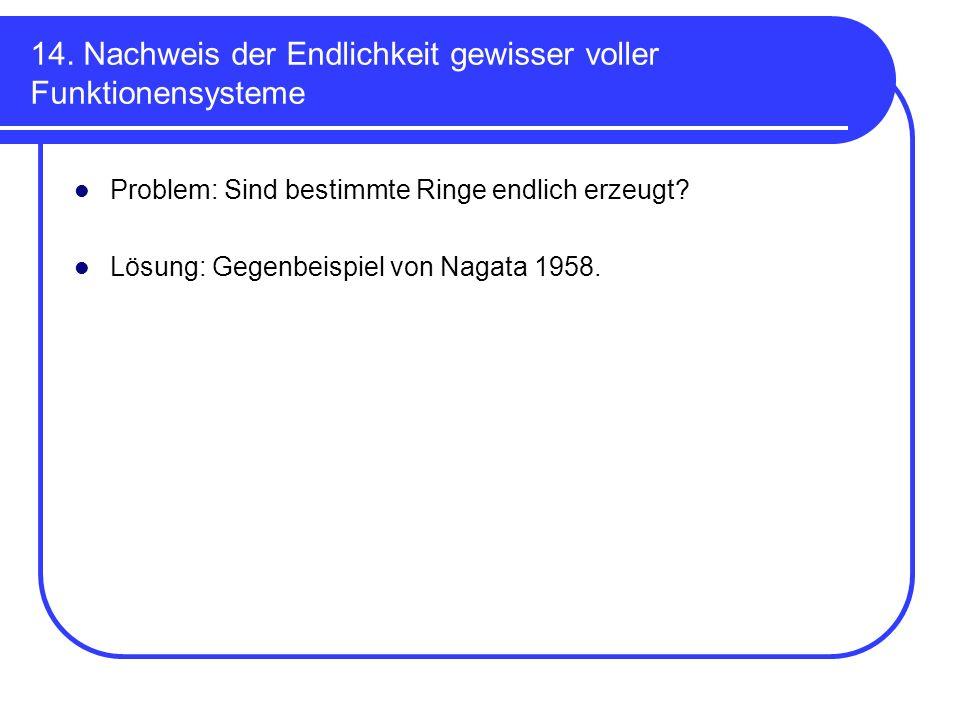 14. Nachweis der Endlichkeit gewisser voller Funktionensysteme Problem: Sind bestimmte Ringe endlich erzeugt? Lösung: Gegenbeispiel von Nagata 1958.