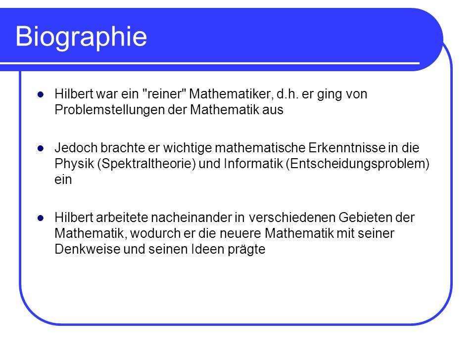Biographie Hilbert war ein