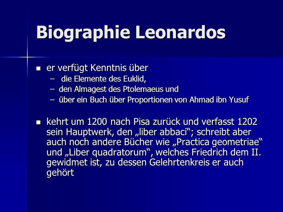 Biographie Leonardos er verfügt Kenntnis über er verfügt Kenntnis über – die Elemente des Euklid, –den Almagest des Ptolemaeus und –über ein Buch über