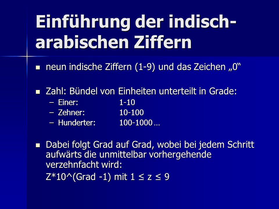 Einführung der indisch- arabischen Ziffern neun indische Ziffern (1-9) und das Zeichen 0 neun indische Ziffern (1-9) und das Zeichen 0 Zahl: Bündel vo