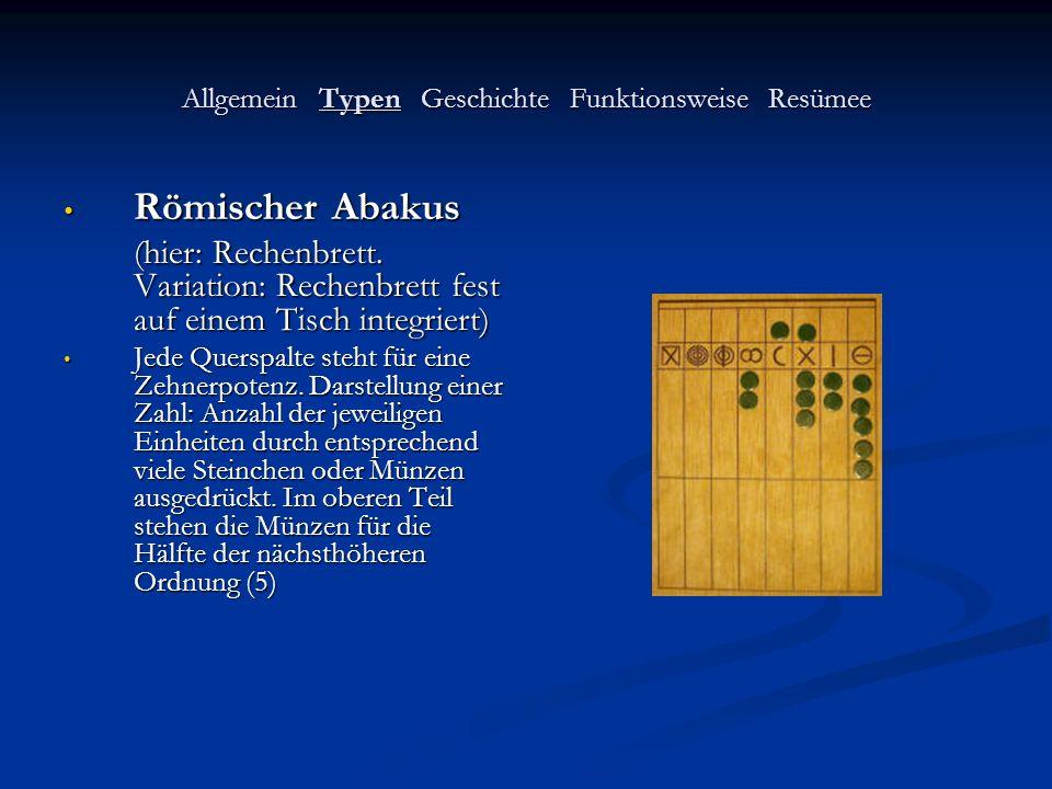 Allgemein Typen Geschichte Funktionsweise Resümee Römischer Abakus Römischer Abakus (hier: Rechenbrett. Variation: Rechenbrett fest auf einem Tisch in