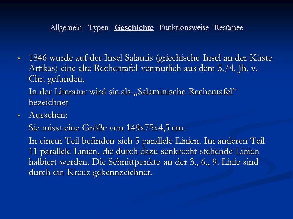 Allgemein Typen Geschichte Funktionsweise Resümee 1846 wurde auf der Insel Salamis (griechische Insel an der Küste Attikas) eine alte Rechentafel verm