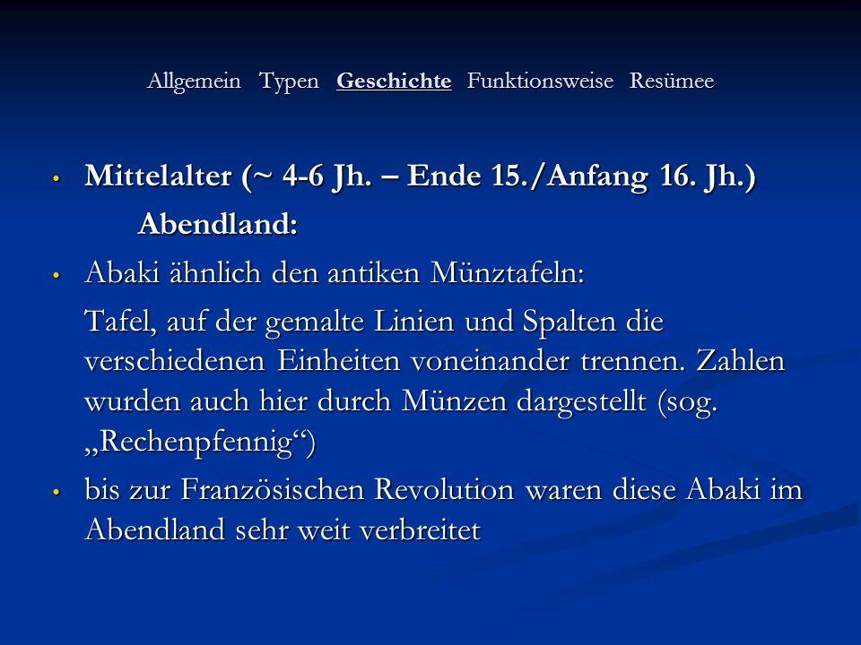 Allgemein Typen Geschichte Funktionsweise Resümee Mittelalter (~ 4-6 Jh. – Ende 15./Anfang 16. Jh.) Mittelalter (~ 4-6 Jh. – Ende 15./Anfang 16. Jh.)A