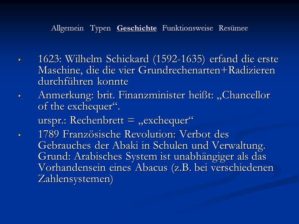 Allgemein Typen Geschichte Funktionsweise Resümee 1623: Wilhelm Schickard (1592-1635) erfand die erste Maschine, die die vier Grundrechenarten+Radizie