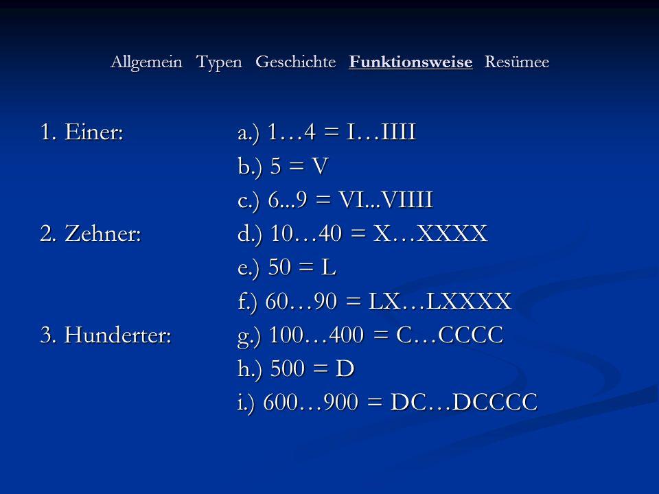 Allgemein Typen Geschichte Funktionsweise Resümee 1.Einer:a.) 1…4 = I…IIII b.) 5 = V c.) 6...9 = VI...VIIII 2.Zehner:d.) 10…40 = X…XXXX e.) 50 = L f.)