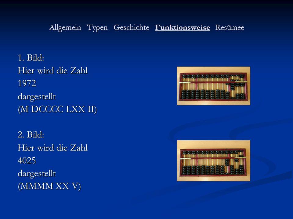 Allgemein Typen Geschichte Funktionsweise Resümee 1. Bild: Hier wird die Zahl 1972dargestellt (M DCCCC LXX II) 2. Bild: Hier wird die Zahl 4025dargest