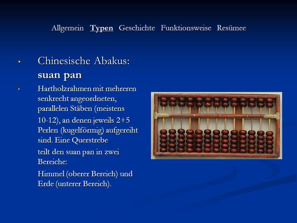 Allgemein Typen Geschichte Funktionsweise Resümee Japanische Abakus: soroban Japanische Abakus: soroban Eine Weiterentwicklung des suan pan: besteht nur noch aus 1+4 (doppelkegligen) Perlen pro Stab.