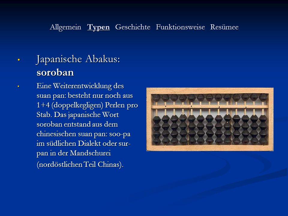 Allgemein Typen Geschichte Funktionsweise Resümee Japanische Abakus: soroban Japanische Abakus: soroban Eine Weiterentwicklung des suan pan: besteht n
