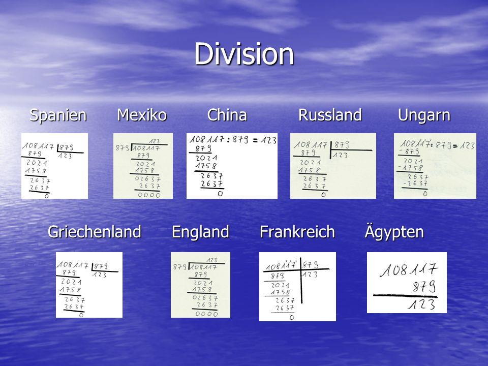 Division Spanien Mexiko China Russland Ungarn Griechenland England Frankreich Ägypten