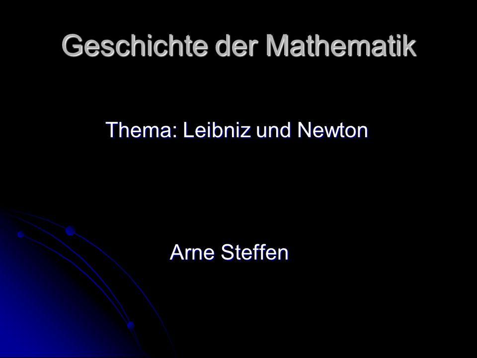 Der Prioritätenstreit zwischen Newton und Leibniz Vorgeschichte und Entstehung des Prioritätenstreites Vorgeschichte und Entstehung des Prioritätenstreites Wie entstand der Verdacht (Newtons), der schließlich zum Prioritätenstreit führte Wie entstand der Verdacht (Newtons), der schließlich zum Prioritätenstreit führte Verlauf Verlauf Auswirkungen Auswirkungen