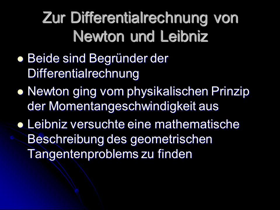 Zur Differentialrechnung von Newton und Leibniz Beide sind Begründer der Differentialrechnung Beide sind Begründer der Differentialrechnung Newton gin