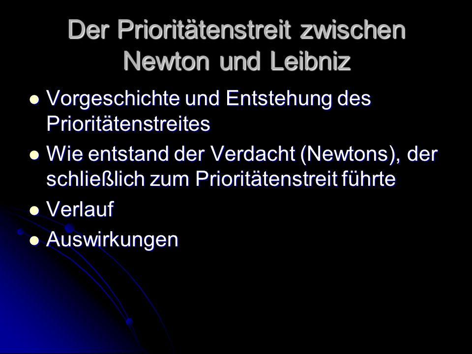 Fazit Newton aber versteht nicht, warum Leibniz nicht offen sagt, dass er mit Sicherheit weiß, dass Newtons Methode ähnlich der seinen ist Newton aber versteht nicht, warum Leibniz nicht offen sagt, dass er mit Sicherheit weiß, dass Newtons Methode ähnlich der seinen ist Die Inhalte aus Newtons Brief können Leibniz nicht geholfen haben Die Inhalte aus Newtons Brief können Leibniz nicht geholfen haben Die direkte Antwort und die offene Darlegung seiner Differentialrechnung zeigen, dass Leibniz alles schon vorher gekannt hat Die direkte Antwort und die offene Darlegung seiner Differentialrechnung zeigen, dass Leibniz alles schon vorher gekannt hat Zu diesem Zeitpunkt sollte Newton eigentlich erkennen, dass Leibniz ihm ein ebenbürtiger Rivale ist Zu diesem Zeitpunkt sollte Newton eigentlich erkennen, dass Leibniz ihm ein ebenbürtiger Rivale ist
