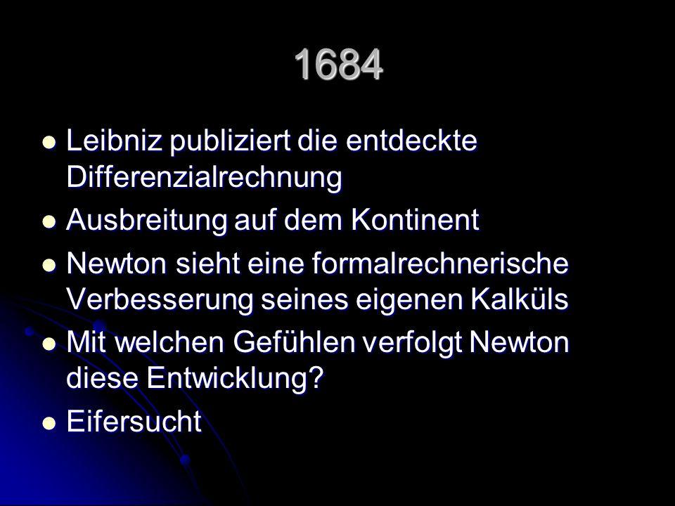 1684 Leibniz publiziert die entdeckte Differenzialrechnung Leibniz publiziert die entdeckte Differenzialrechnung Ausbreitung auf dem Kontinent Ausbrei