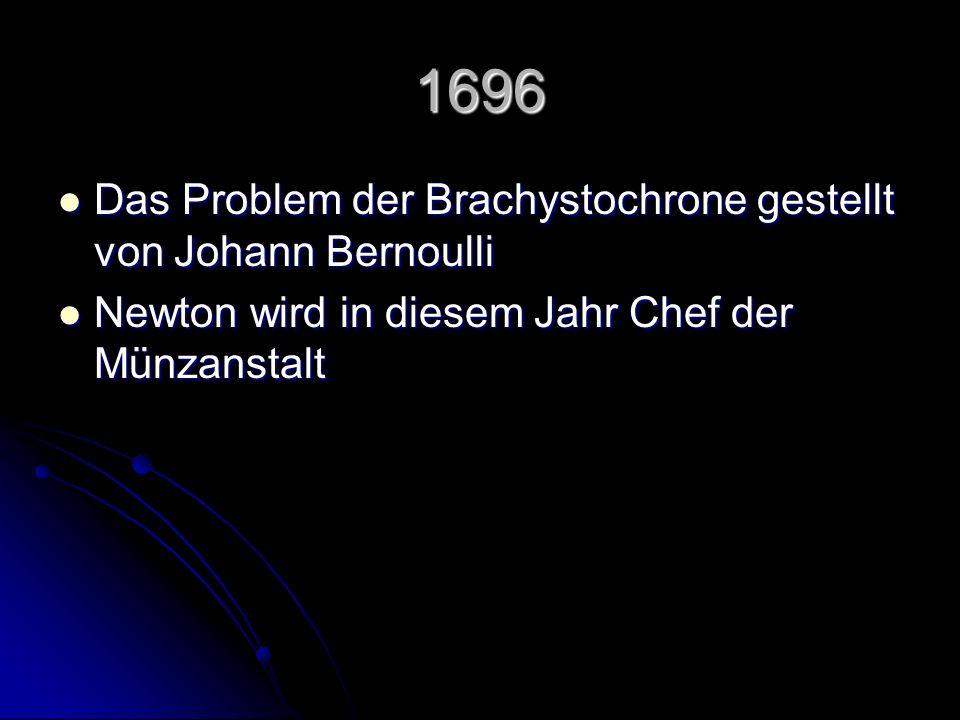 1696 Das Problem der Brachystochrone gestellt von Johann Bernoulli Das Problem der Brachystochrone gestellt von Johann Bernoulli Newton wird in diesem