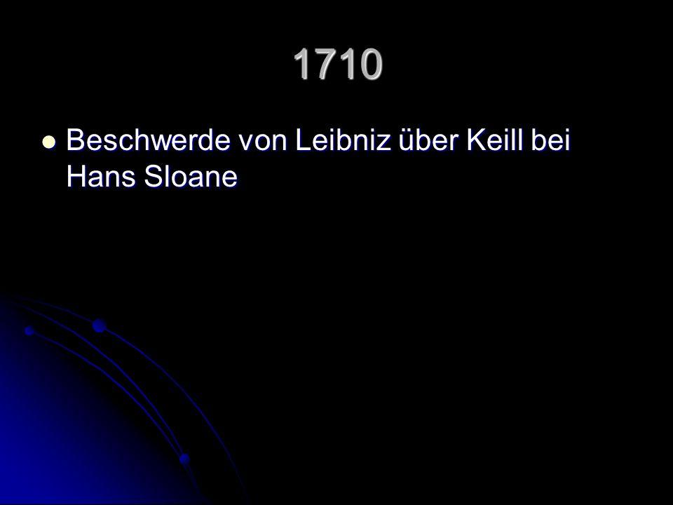 1710 Beschwerde von Leibniz über Keill bei Hans Sloane Beschwerde von Leibniz über Keill bei Hans Sloane
