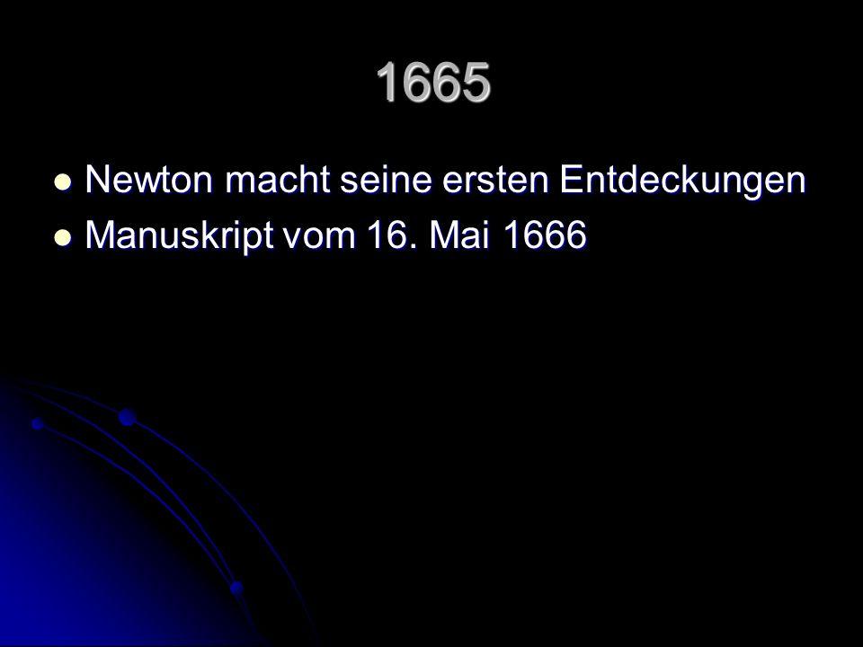 1664 – 1666 Entwicklung der grundlegenden Ideen zur Fluxionsrechnung Entwicklung der grundlegenden Ideen zur Fluxionsrechnung die entscheidenden Gedanken zur Physik ( Optik und Gravitation ) passieren gleichzeitig die entscheidenden Gedanken zur Physik ( Optik und Gravitation ) passieren gleichzeitig