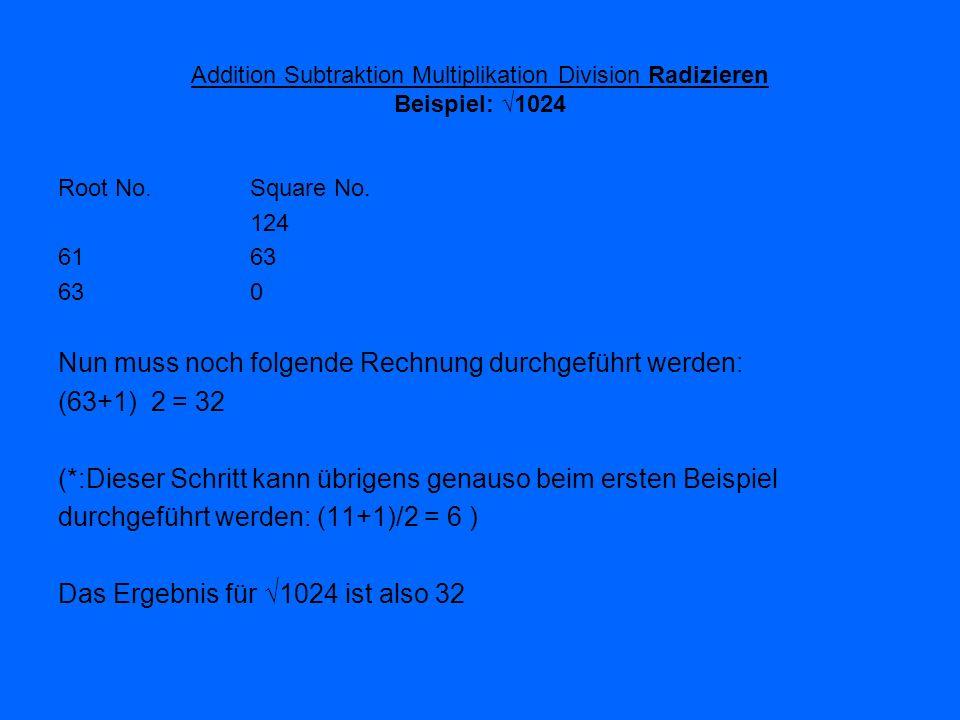 Addition Subtraktion Multiplikation Division Radizieren Beispiel: 1024 Root No. Square No. 124 6163 630 Nun muss noch folgende Rechnung durchgeführt w