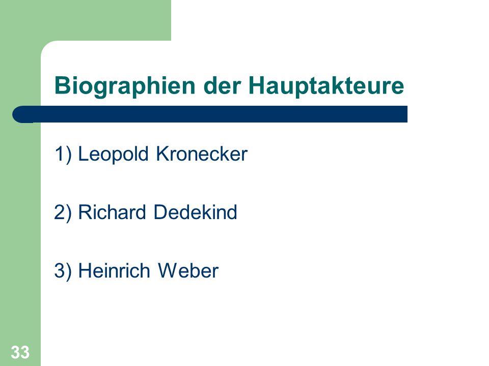 33 Biographien der Hauptakteure 1) Leopold Kronecker 2) Richard Dedekind 3) Heinrich Weber