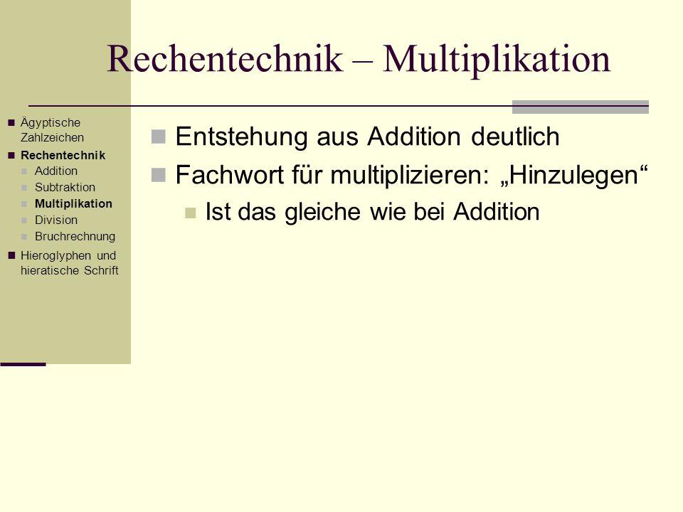 Rechentechnik – Multiplikation Entstehung aus Addition deutlich Fachwort für multiplizieren: Hinzulegen Ist das gleiche wie bei Addition Ägyptische Za