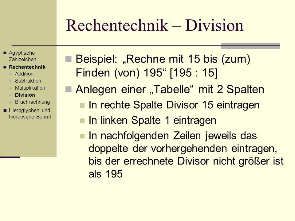 Rechentechnik – Division Beispiel: Rechne mit 15 bis (zum) Finden (von) 195 [195 : 15] Anlegen einer Tabelle mit 2 Spalten In rechte Spalte Divisor 15