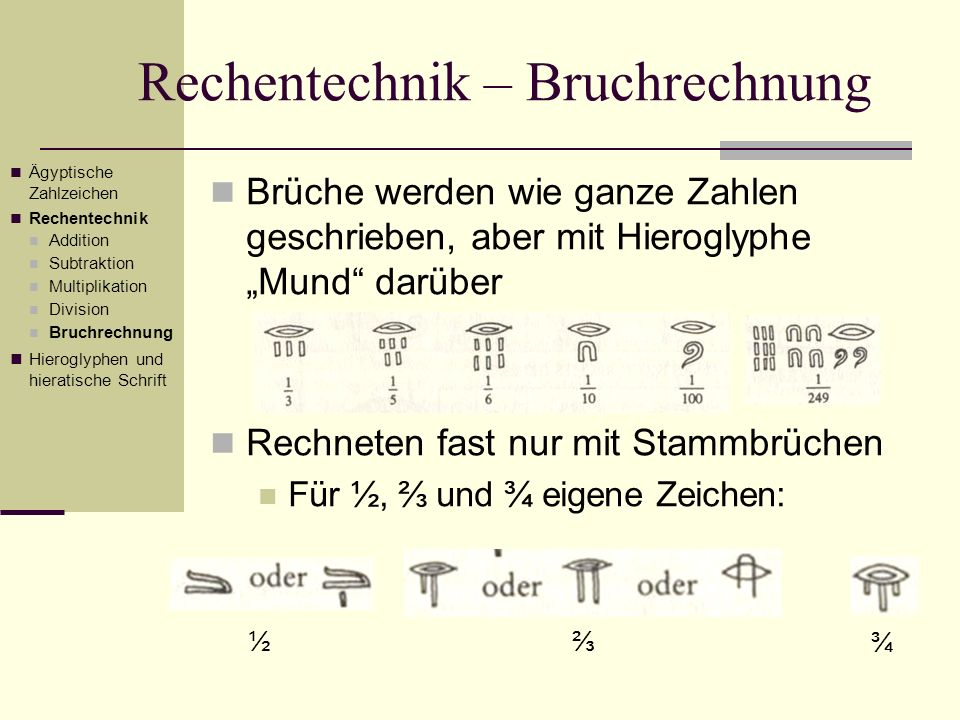 Rechentechnik – Bruchrechnung Brüche werden wie ganze Zahlen geschrieben, aber mit Hieroglyphe Mund darüber Rechneten fast nur mit Stammbrüchen Für ½,