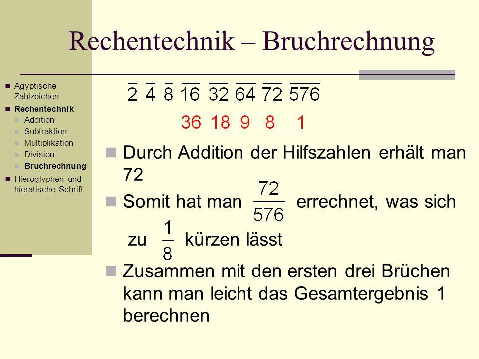 Rechentechnik – Bruchrechnung Durch Addition der Hilfszahlen erhält man 72 Somit hat man errechnet, was sich zu kürzen lässt Zusammen mit den ersten d