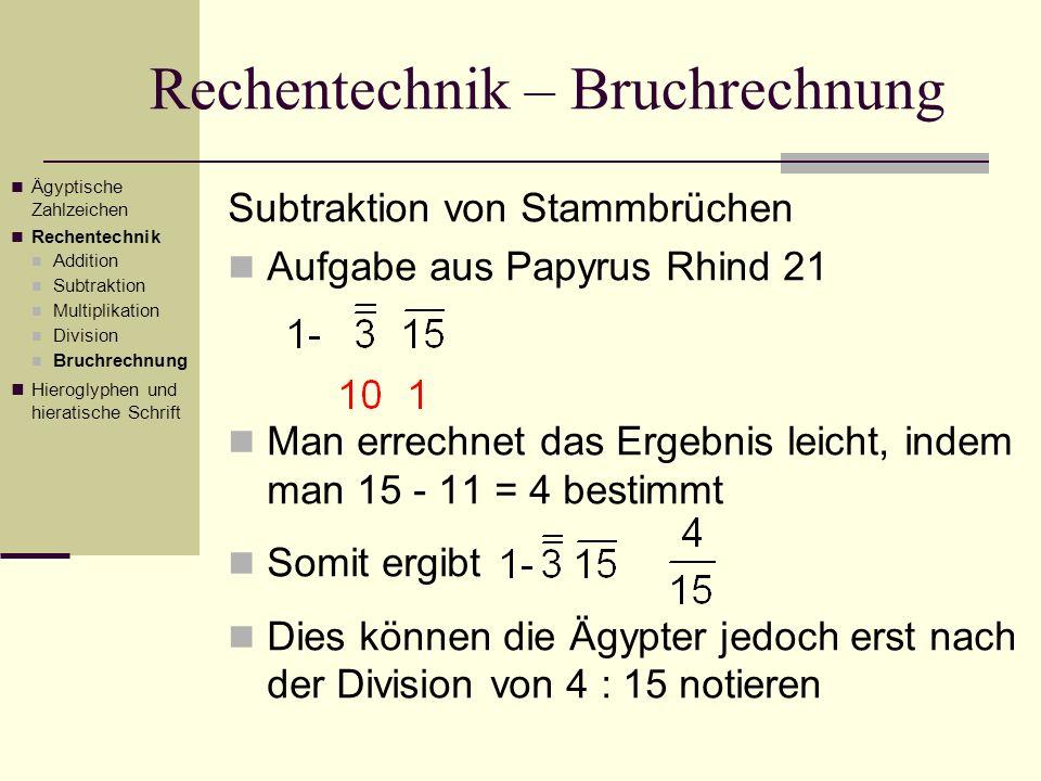 Rechentechnik – Bruchrechnung Subtraktion von Stammbrüchen Aufgabe aus Papyrus Rhind 21 Man errechnet das Ergebnis leicht, indem man 15 - 11 = 4 besti