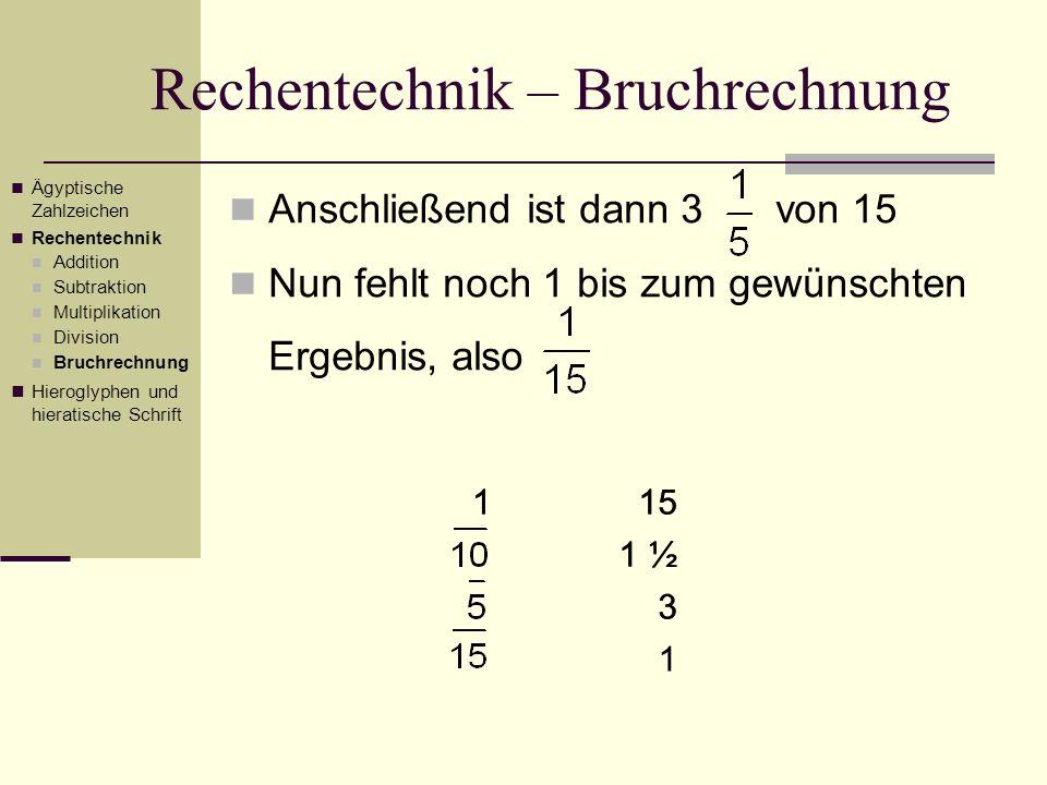 Rechentechnik – Bruchrechnung Anschließend ist dann 3 von 15 Nun fehlt noch 1 bis zum gewünschten Ergebnis, also 115 1 ½ 3 1 Ägyptische Zahlzeichen Re