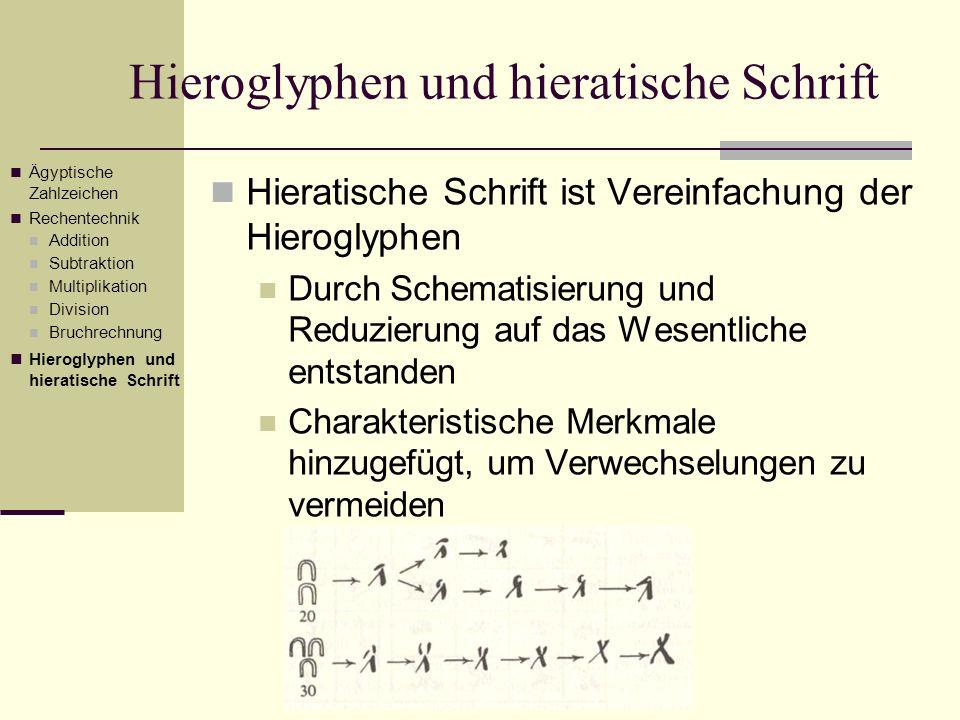 Hieratische Schrift ist Vereinfachung der Hieroglyphen Durch Schematisierung und Reduzierung auf das Wesentliche entstanden Charakteristische Merkmale