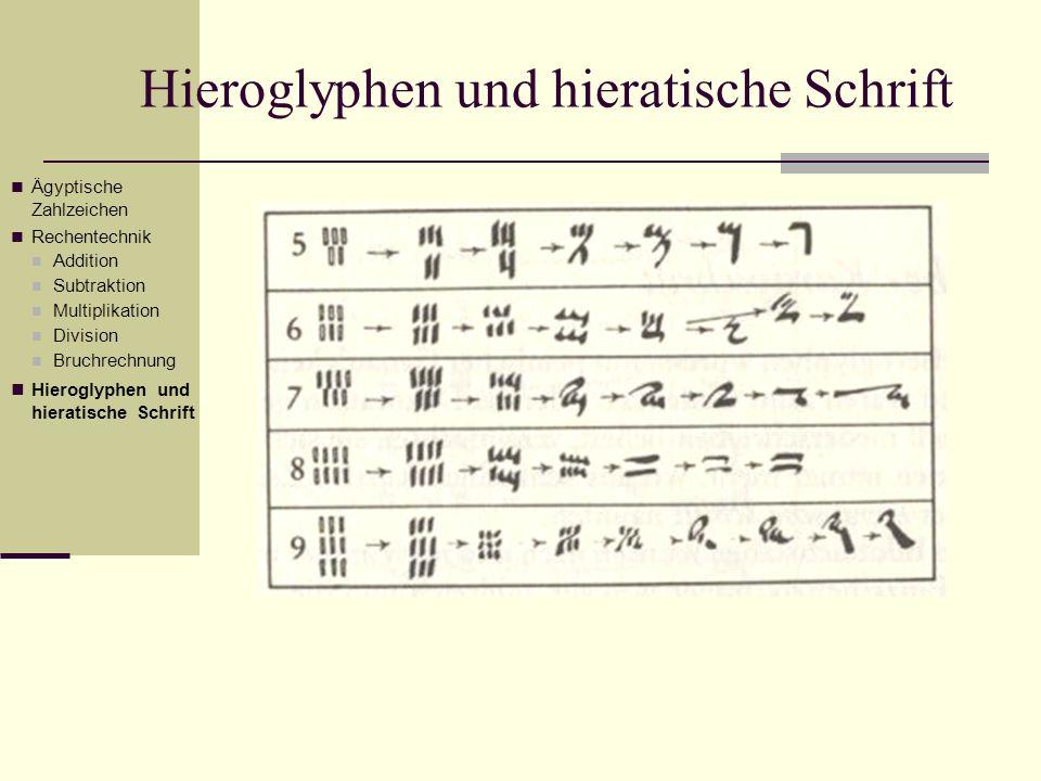 Ägyptische Zahlzeichen Rechentechnik Addition Subtraktion Multiplikation Division Bruchrechnung Hieroglyphen und hieratische Schrift