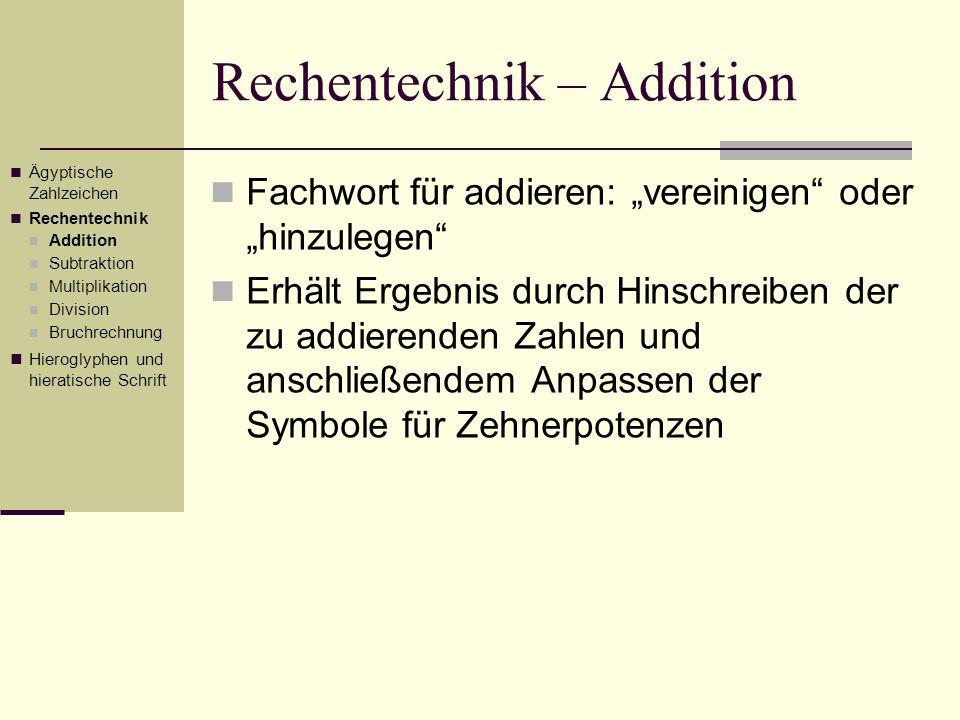 Rechentechnik – Addition Berechnung Anpassung der Zehnerpotenzen Beispiel: 1 202 416 + 352 745 Ägyptische Zahlzeichen Rechentechnik Addition Subtraktion Multiplikation Division Bruchrechnung Hieroglyphen und hieratische Schrift