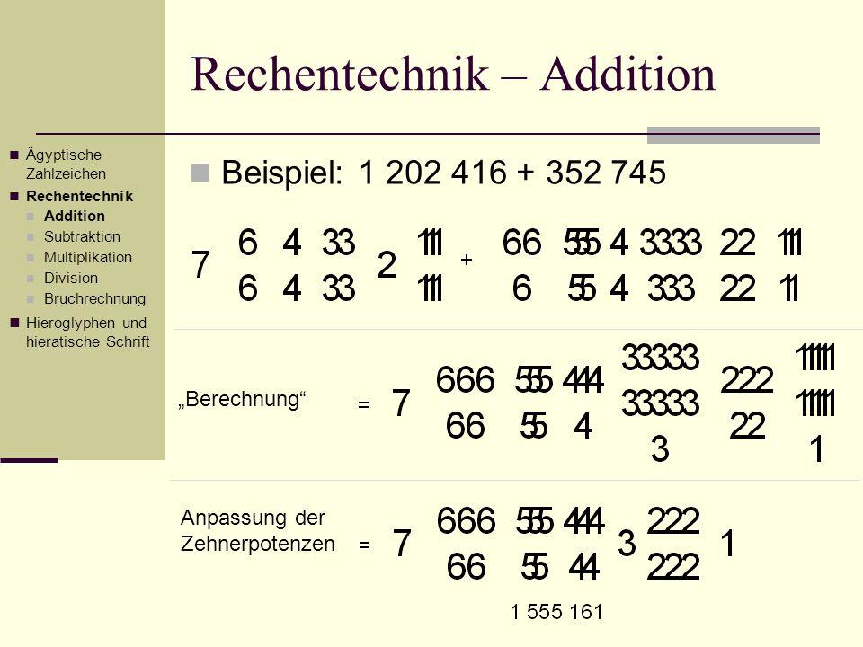 Rechentechnik – Bruchrechnung Anschließend ist dann 3 von 15 Nun fehlt noch 1 bis zum gewünschten Ergebnis, also 115 1 ½ 3 1 Ägyptische Zahlzeichen Rechentechnik Addition Subtraktion Multiplikation Division Bruchrechnung Hieroglyphen und hieratische Schrift 115 1 ½ 3