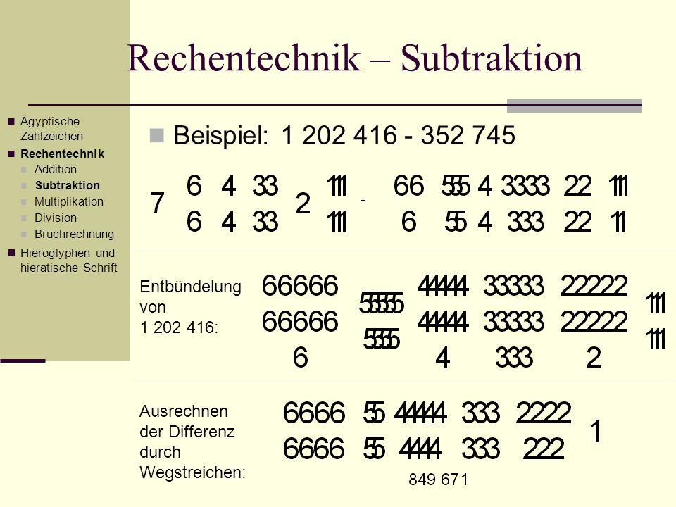 Rechentechnik – Multiplikation Entstehung aus Addition deutlich Fachwort für multiplizieren: Hinzulegen Ist das gleiche wie bei Addition Ägyptische Zahlzeichen Rechentechnik Addition Subtraktion Multiplikation Division Bruchrechnung Hieroglyphen und hieratische Schrift
