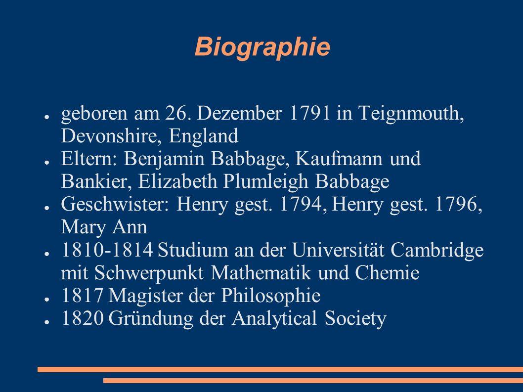 geboren am 26. Dezember 1791 in Teignmouth, Devonshire, England Eltern: Benjamin Babbage, Kaufmann und Bankier, Elizabeth Plumleigh Babbage Geschwiste