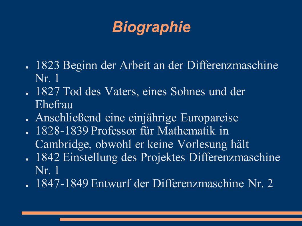 Biographie 1823 Beginn der Arbeit an der Differenzmaschine Nr. 1 1827 Tod des Vaters, eines Sohnes und der Ehefrau Anschließend eine einjährige Europa