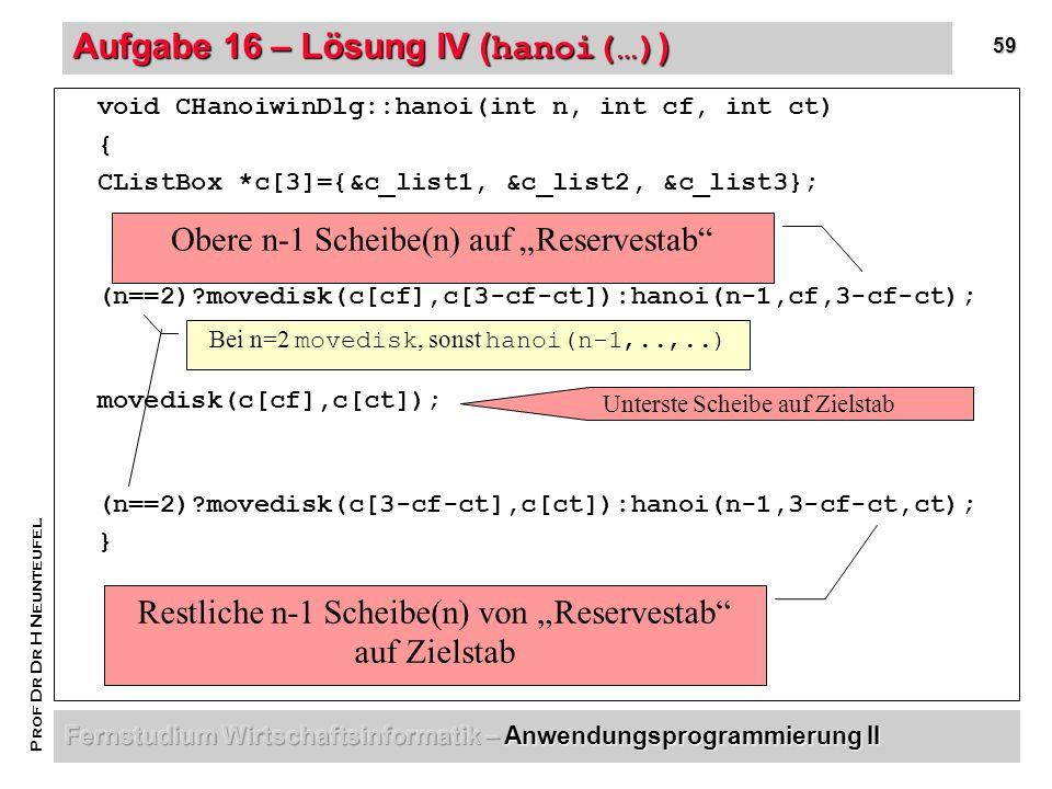 59 Prof Dr Dr H Neunteufel Aufgabe 16 – Lösung IV ( hanoi(…) ) void CHanoiwinDlg::hanoi(int n, int cf, int ct) { CListBox *c[3]={&c_list1, &c_list2, &c_list3}; (n==2) movedisk(c[cf],c[3-cf-ct]):hanoi(n-1,cf,3-cf-ct); movedisk(c[cf],c[ct]); (n==2) movedisk(c[3-cf-ct],c[ct]):hanoi(n-1,3-cf-ct,ct); } Obere n-1 Scheibe(n) auf Reservestab Unterste Scheibe auf Zielstab Restliche n-1 Scheibe(n) von Reservestab auf Zielstab Bei n=2 movedisk, sonst hanoi(n-1,..,..)