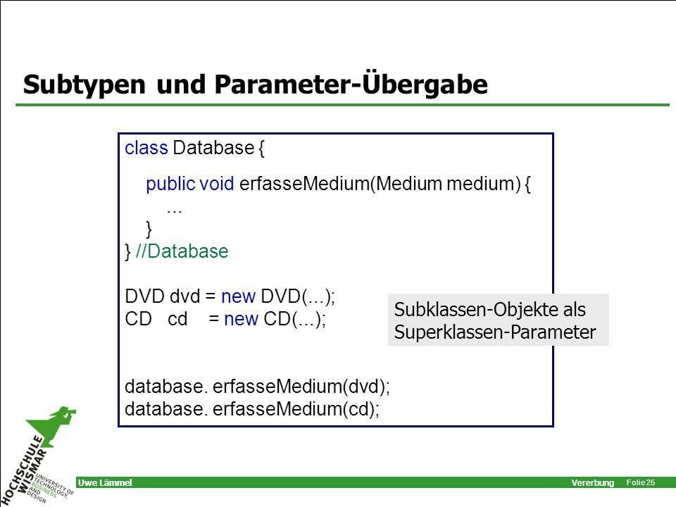 Vererbung Folie 25 Uwe Lämmel Subtypen und Parameter-Übergabe class Database { public void erfasseMedium(Medium medium) {... } } //Database DVD dvd =