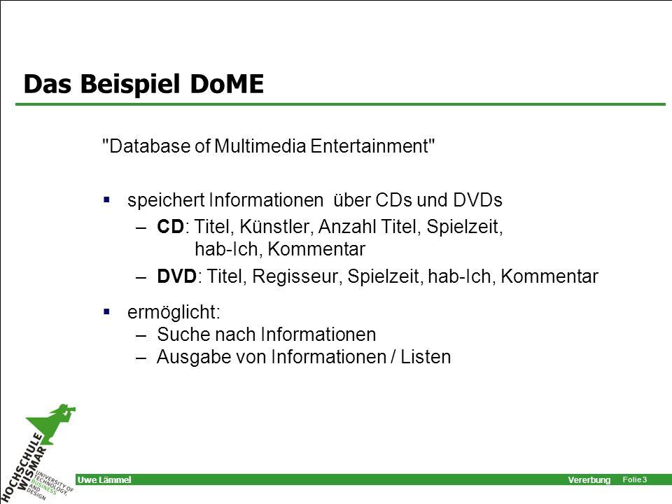 Vererbung Folie 34 Uwe Lämmel Problem print-Methode der Klasse Medium listet nur gemeinsame Merkmale.