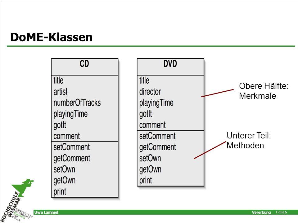 Vererbung Folie 16 Uwe Lämmel Unterklassen class CD extends Medium { private String kuenstler; private int titelanzahl; // Konstruktoren und Methoden folgen...