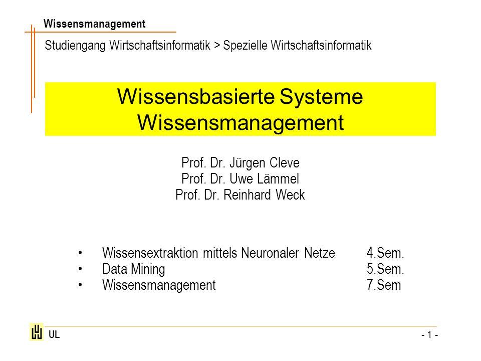 Wissensmanagement UL - 1 - Wissensbasierte Systeme Wissensmanagement Prof. Dr. Jürgen Cleve Prof. Dr. Uwe Lämmel Prof. Dr. Reinhard Weck Wissensextrak